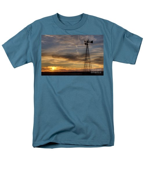 Men's T-Shirt  (Regular Fit) featuring the photograph Dark Sunset With Windmill by Art Whitton