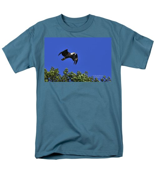 Men's T-Shirt  (Regular Fit) featuring the photograph Eagle Over The Tree Top by Randall Branham
