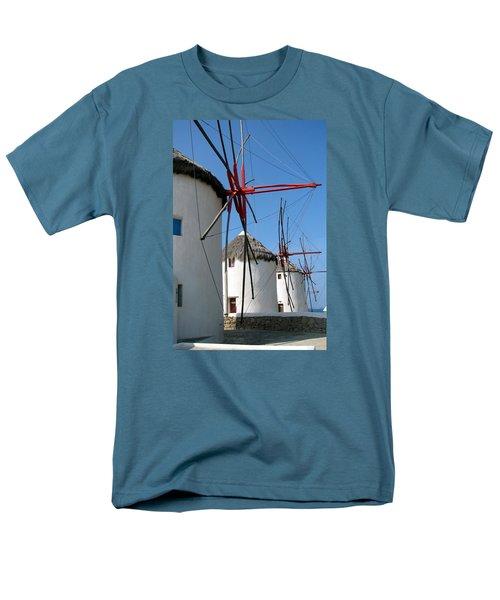 Men's T-Shirt  (Regular Fit) featuring the photograph Mykonos Windmills by Carla Parris
