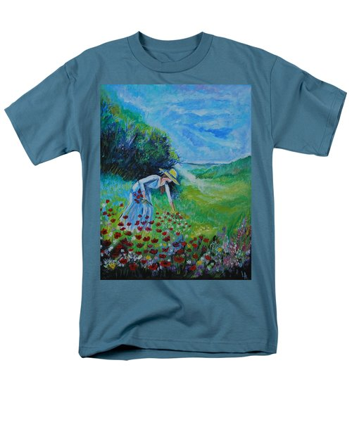 Men's T-Shirt  (Regular Fit) featuring the painting Picking Flowers by Leslie Allen