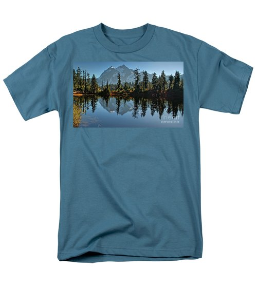 Men's T-Shirt  (Regular Fit) featuring the photograph Picture Lake - Heather Meadows Landscape In Autumn Art Prints by Valerie Garner