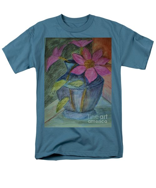 Pink Flowers In Blue Vase Men's T-Shirt  (Regular Fit) by Christy Saunders Church