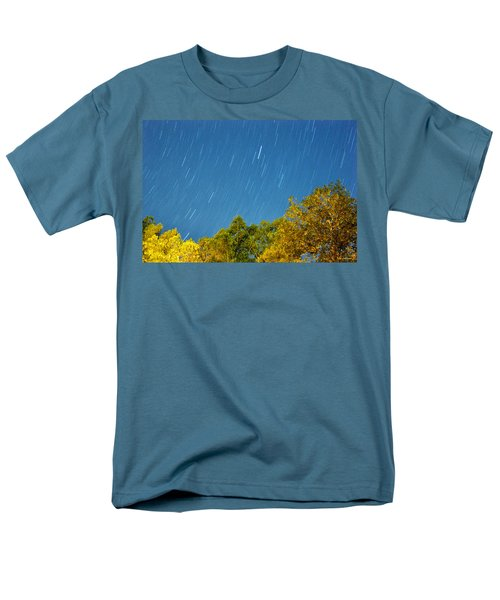 Star Trails On A Blue Sky Men's T-Shirt  (Regular Fit) by Kay Lovingood