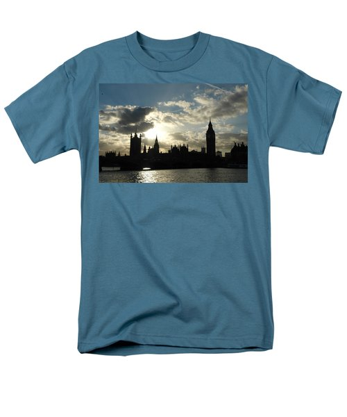 The Outline Of Big Ben And Westminster And Other Buildings At Sunset Men's T-Shirt  (Regular Fit) by Ashish Agarwal