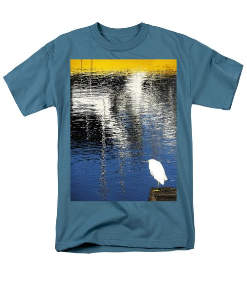 White Egret On Dock With Colorful Reflections Men's T-Shirt  (Regular Fit) by Anne Mott