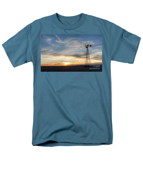 Men's T-Shirt  (Regular Fit) featuring the photograph Windmill And Sunset by Art Whitton
