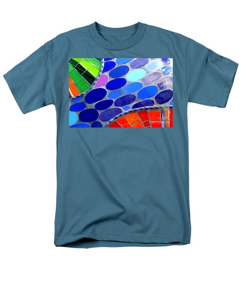 Mosaic Abstract Of The Blue Green Red Orange Stones Men's T-Shirt  (Regular Fit) by Michael Hoard