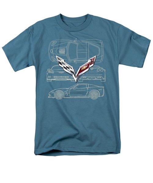 Chevrolet Corvette 3 D Badge Over Corvette C 6 Z R 1 Blueprint Men's T-Shirt  (Regular Fit) by Serge Averbukh