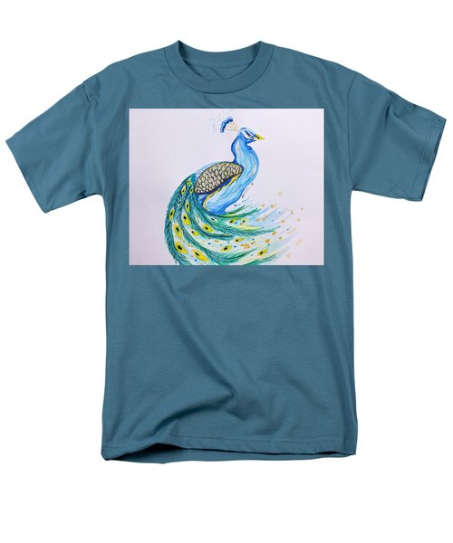 Men's T-Shirt  (Regular Fit) featuring the painting Peacock  by Edwin Alverio