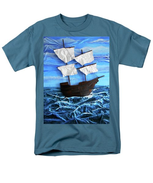 Men's T-Shirt  (Regular Fit) featuring the mixed media Ship by Angela Stout