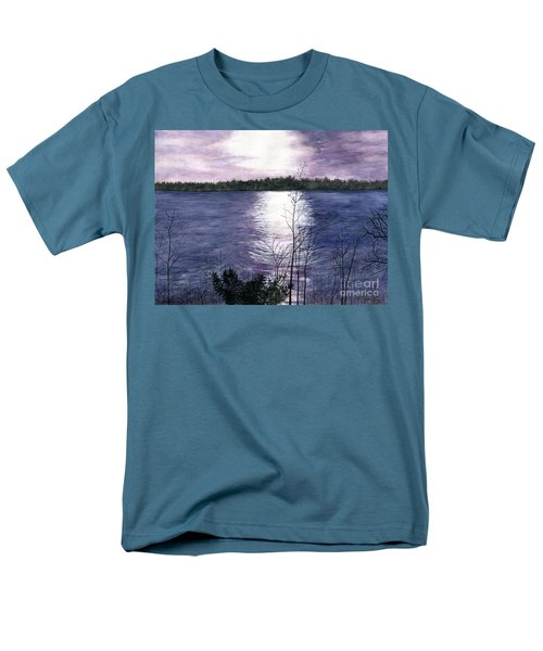 Men's T-Shirt  (Regular Fit) featuring the painting Sunset At Niagara River New York by Melly Terpening