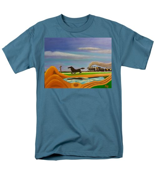 Men's T-Shirt  (Regular Fit) featuring the painting The Race by Margaret Harmon