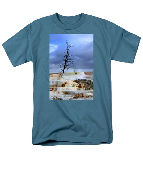 Men's T-Shirt  (Regular Fit) featuring the photograph Travertine Terraces by Irina Hays