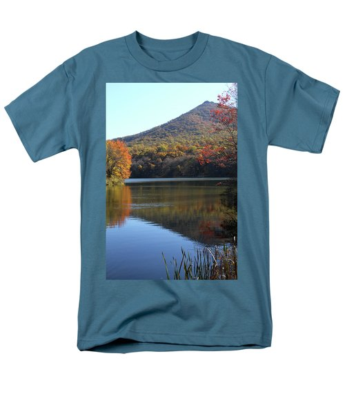Men's T-Shirt  (Regular Fit) featuring the photograph View Of Abbott Lake And Sharp Top In Autumn by Emanuel Tanjala