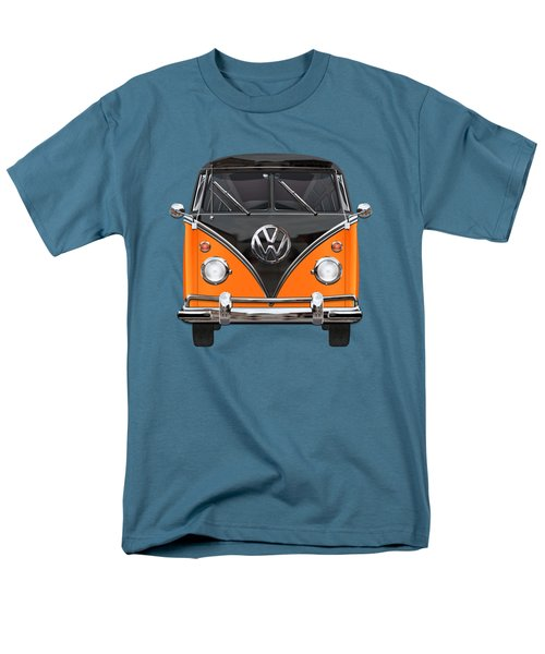 Volkswagen Type 2 - Black And Orange Volkswagen T 1 Samba Bus Over Blue Men's T-Shirt  (Regular Fit) by Serge Averbukh
