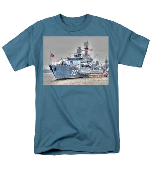 Men's T-Shirt  (Regular Fit) featuring the pyrography Yury Bashkin War Ship by Yury Bashkin