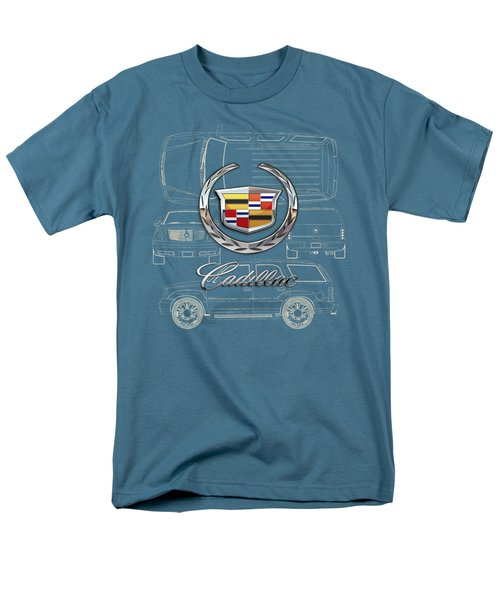 Cadillac 3 D Badge Over Cadillac Escalade Blueprint  Men's T-Shirt  (Regular Fit) by Serge Averbukh