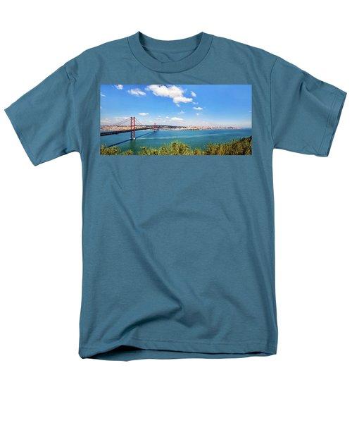 Men's T-Shirt  (Regular Fit) featuring the photograph 25th April Bridge Lisbon by Marion McCristall