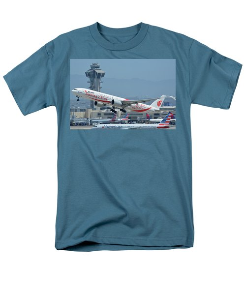 Men's T-Shirt  (Regular Fit) featuring the photograph Air China Boeing 777-39ler B-2035 Smiling China Los Angeles International Airport May 3 2016 by Brian Lockett