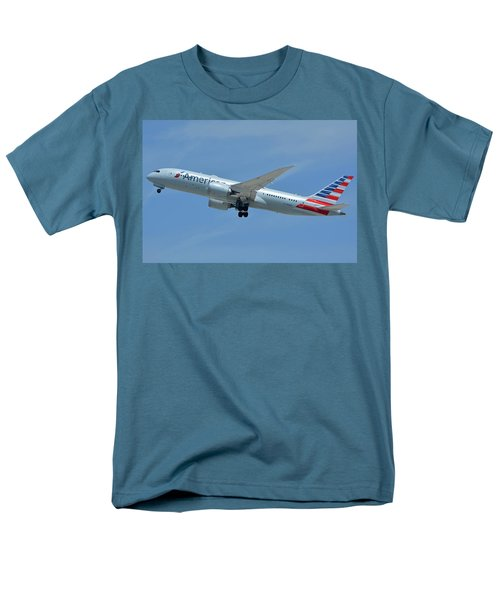 Men's T-Shirt  (Regular Fit) featuring the photograph American Boeing 787-8 N808an Los Angeles International Airport May 3 2016 by Brian Lockett