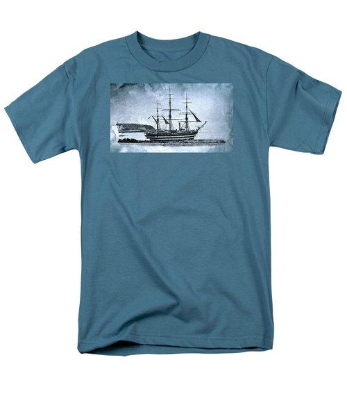 Amerigo Vespucci Sailboat In Blue Men's T-Shirt  (Regular Fit) by Pedro Cardona