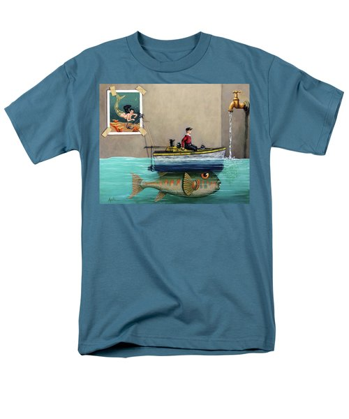 Anyfin Is Possible - Fisherman Toy Boat And Mermaid Still Life Painting Men's T-Shirt  (Regular Fit) by Linda Apple