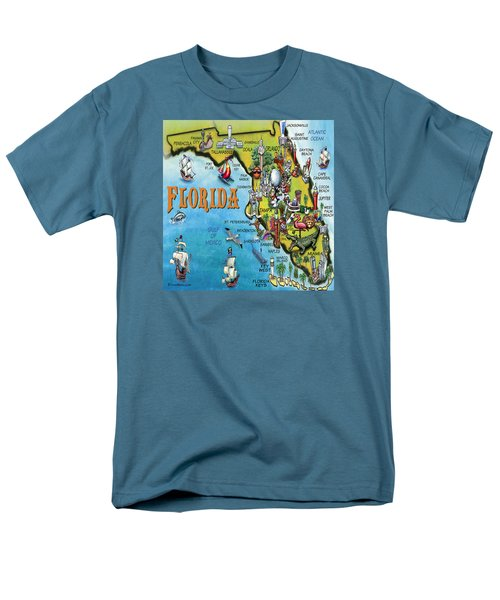 Florida Cartoon Map Men's T-Shirt  (Regular Fit) by Kevin Middleton