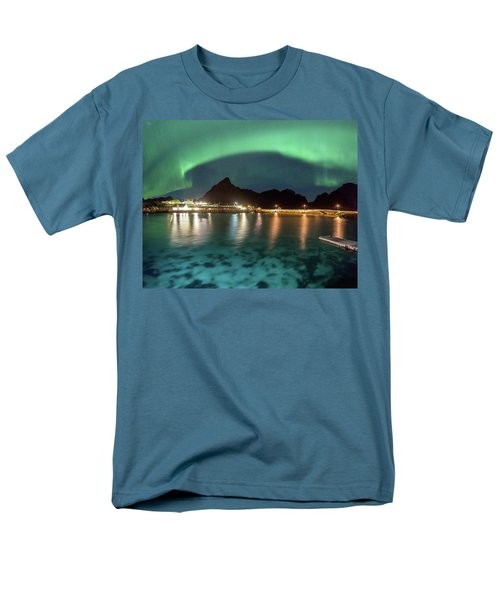 Aurora Above Turquoise Waters Men's T-Shirt  (Regular Fit) by Alex Conu