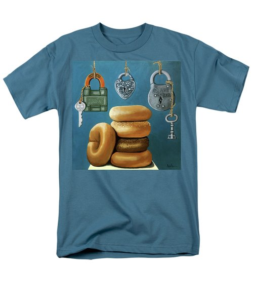 Men's T-Shirt  (Regular Fit) featuring the painting Bagels And Locks by Linda Apple