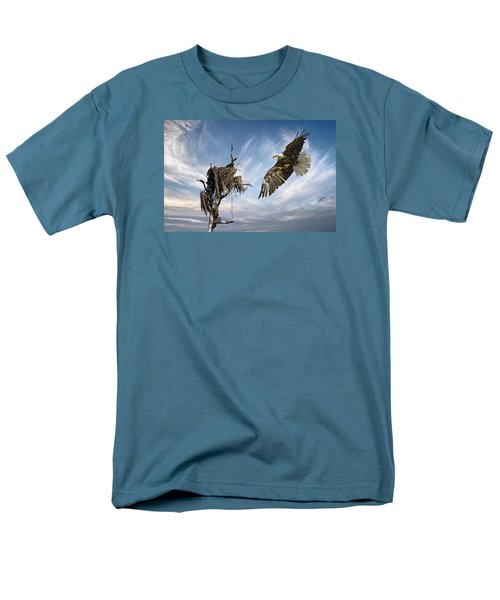 Men's T-Shirt  (Regular Fit) featuring the photograph Bald Eagle Landing On Old Nest by Brian Tarr