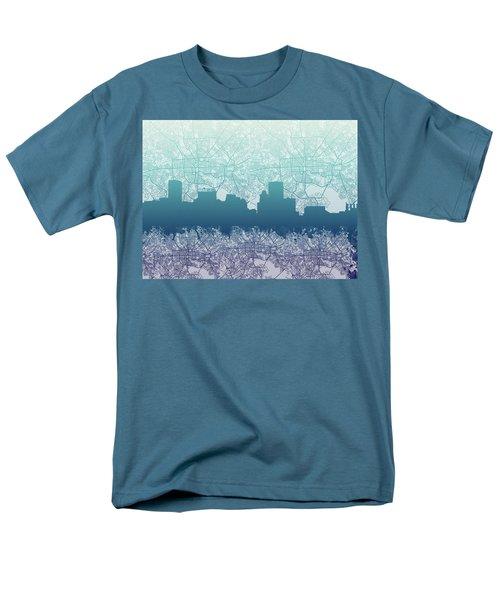 Men's T-Shirt  (Regular Fit) featuring the painting Baltimore City Skyline Map 2 by Bekim Art