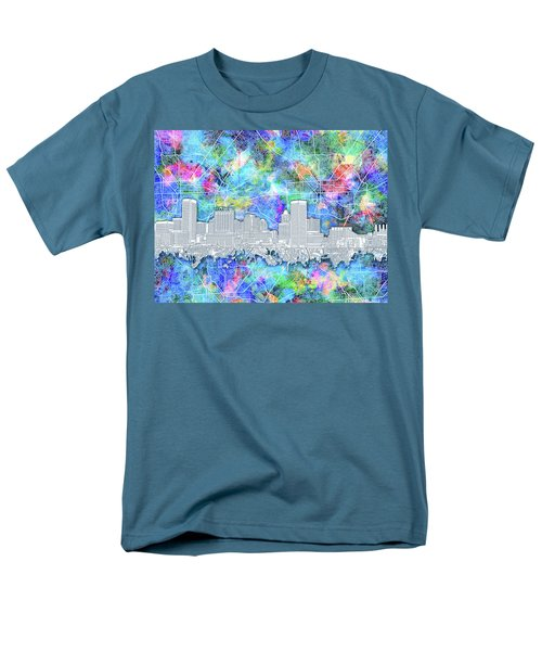 Men's T-Shirt  (Regular Fit) featuring the painting Baltimore Skyline Watercolor 14 by Bekim Art