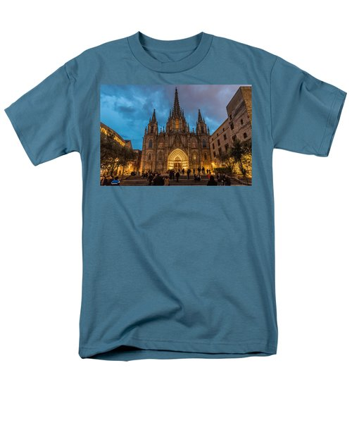 Barcelona Cathedral At Dusk Men's T-Shirt  (Regular Fit) by Randy Scherkenbach