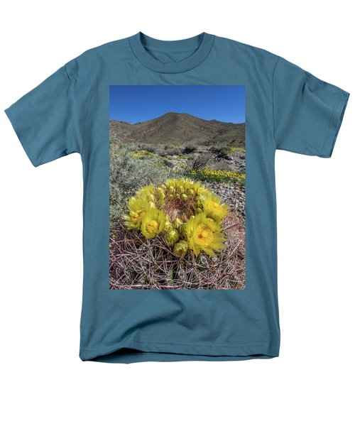 Men's T-Shirt  (Regular Fit) featuring the photograph Barrel Cactus Super Bloom by Peter Tellone