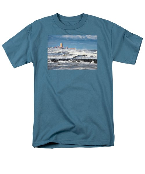 Men's T-Shirt  (Regular Fit) featuring the photograph Battering The Seawall At Shark River Inlet by Gary Slawsky