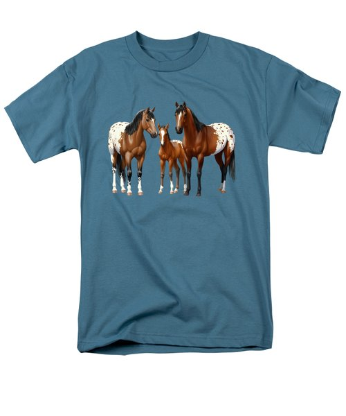 Bay Appaloosa Horses In Winter Pasture Men's T-Shirt  (Regular Fit) by Crista Forest