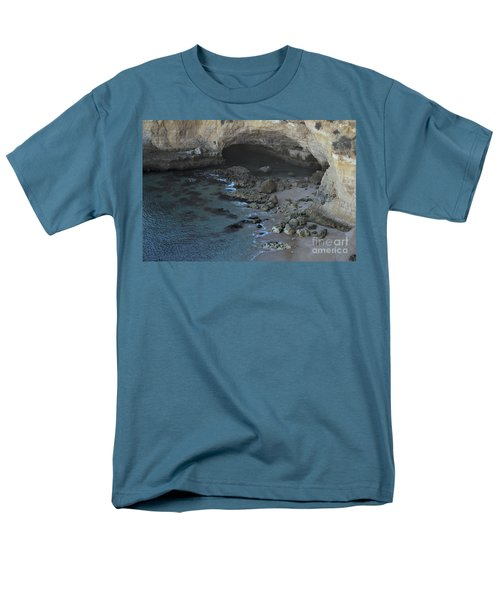 Beach Cave From The Cliffs In Malhada Do Baraco Men's T-Shirt  (Regular Fit) by Angelo DeVal