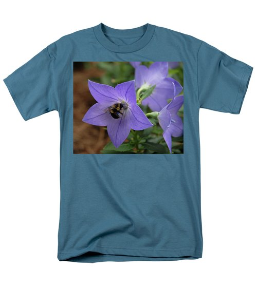 Men's T-Shirt  (Regular Fit) featuring the photograph Bellflower And Bee  by Marie Hicks