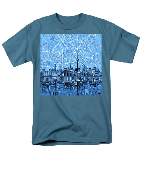 Berlin City Skyline Abstract Blue Men's T-Shirt  (Regular Fit) by Bekim Art