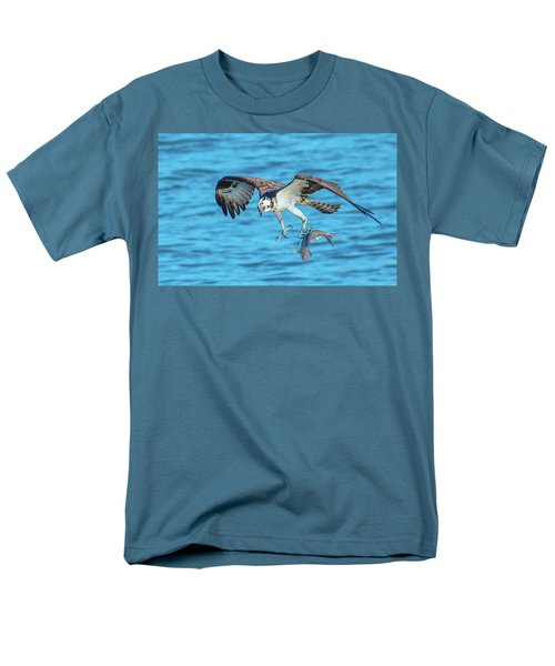 Best Osprey With Fish In One Talon Men's T-Shirt  (Regular Fit) by Jeff at JSJ Photography