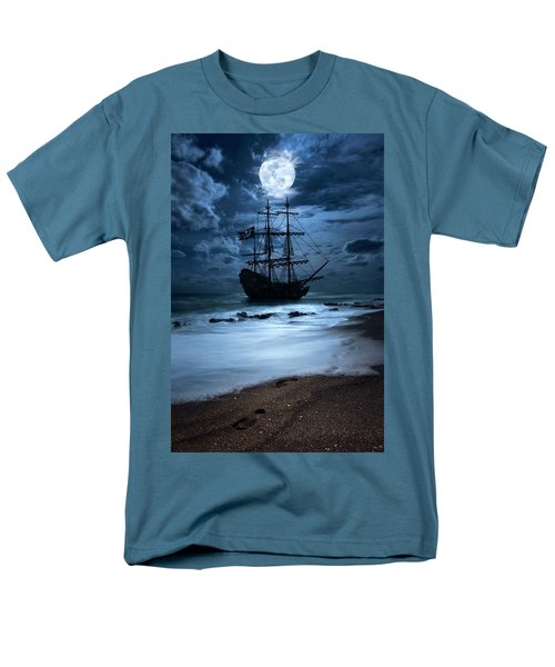 Black Pearl Pirate Ship Landing Under Full Moon Men's T-Shirt  (Regular Fit) by Justin Kelefas