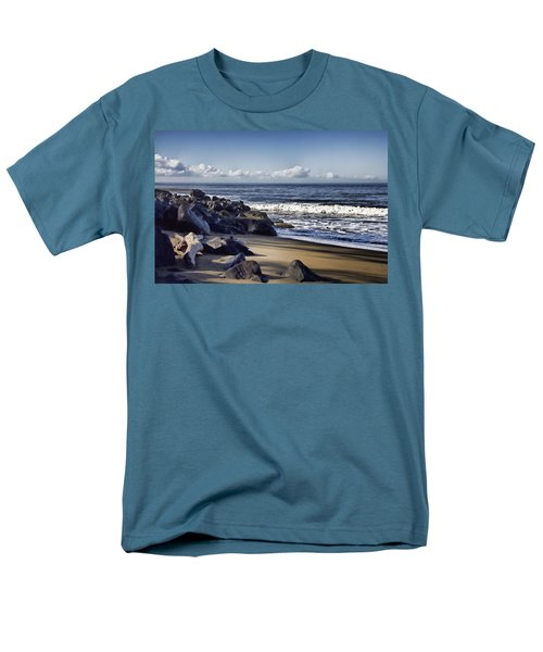 Black Sand Beach  Men's T-Shirt  (Regular Fit) by Douglas Barnard