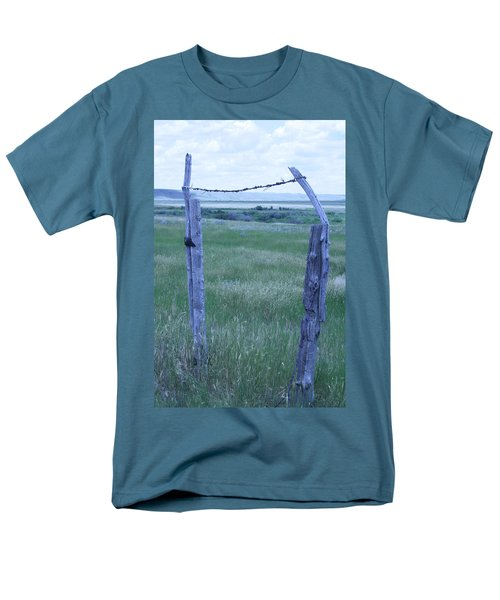 Blue Barbwire Men's T-Shirt  (Regular Fit) by Mary Mikawoz