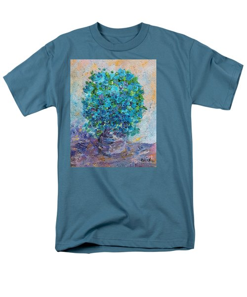 Blue Flowers In A Vase Men's T-Shirt  (Regular Fit) by AmaS Art