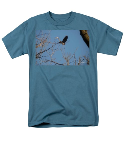 Men's T-Shirt  (Regular Fit) featuring the photograph Blue Heron Landing by David Bearden
