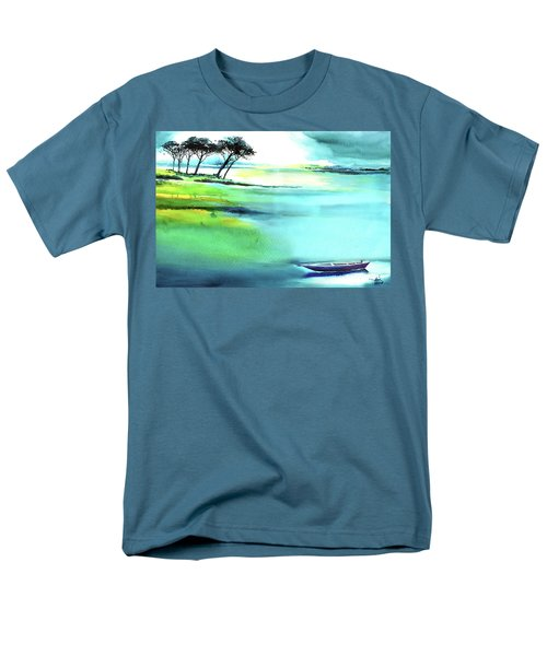 Men's T-Shirt  (Regular Fit) featuring the painting Blue Lagoon by Anil Nene