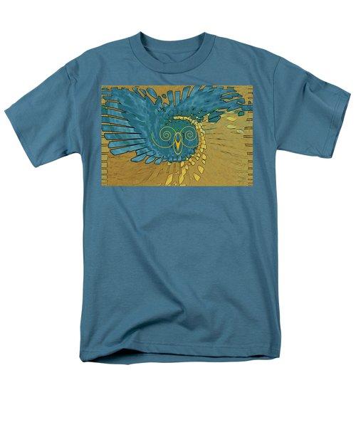 Abstract Blue Owl Men's T-Shirt  (Regular Fit) by Ben and Raisa Gertsberg