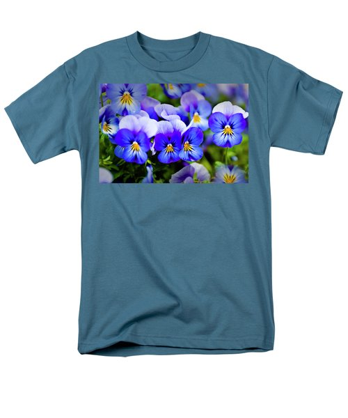Men's T-Shirt  (Regular Fit) featuring the photograph Blue Pansies by Tamyra Ayles