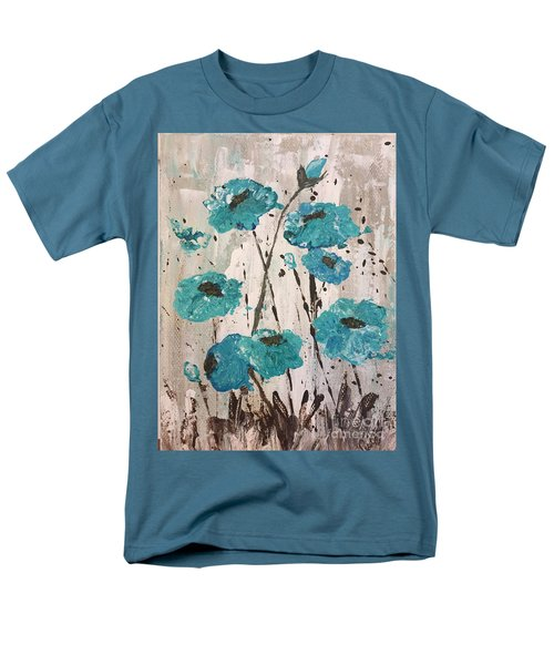 Men's T-Shirt  (Regular Fit) featuring the painting Blue Poppies by Lucia Grilletto