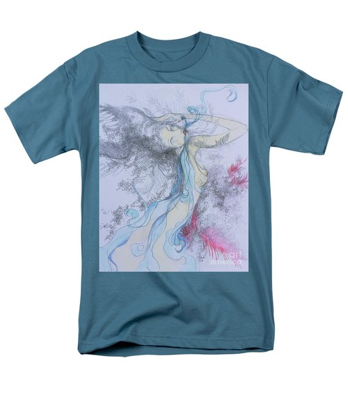 Men's T-Shirt  (Regular Fit) featuring the drawing Blue Smoke And Mirrors by Marat Essex